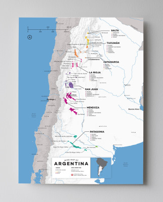 12x16 Argentina Wine Map by Wine Folly