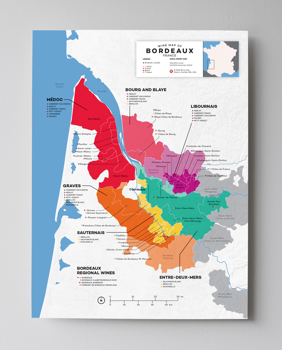 12x16 France Bordeaux wine map by Wine Folly