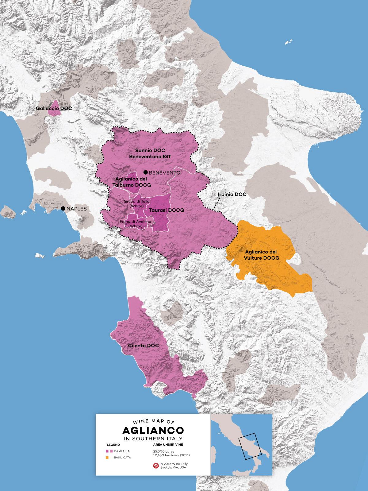 Southern Italy Aglianico regions within Basilicata and Campania by Wine Folly