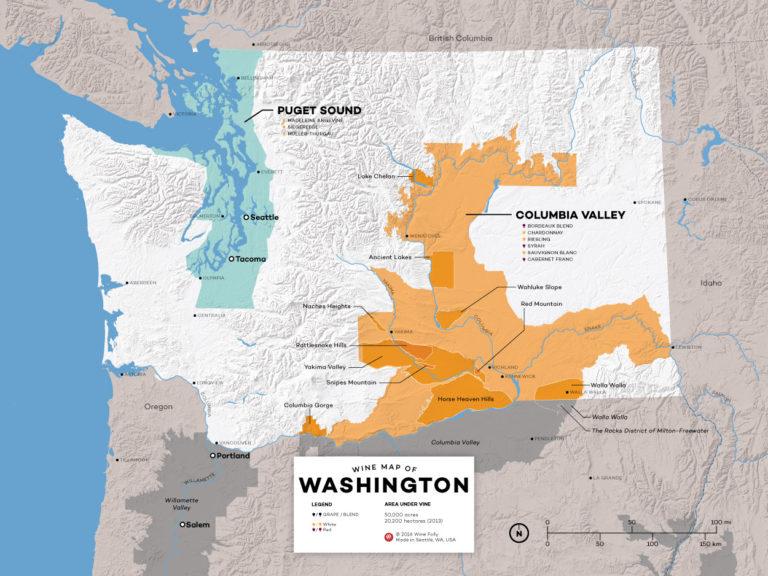 Washington Wine Region Map by Wine Folly