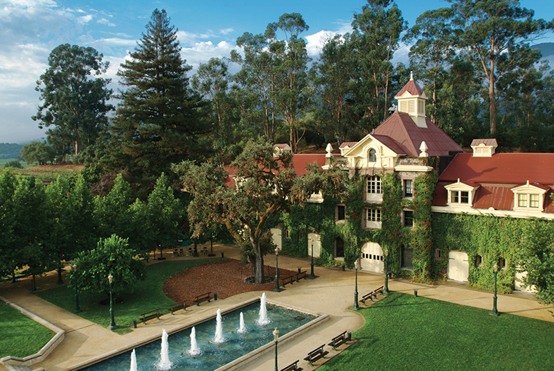 A view of Inglenook Winery's traditional elegant design