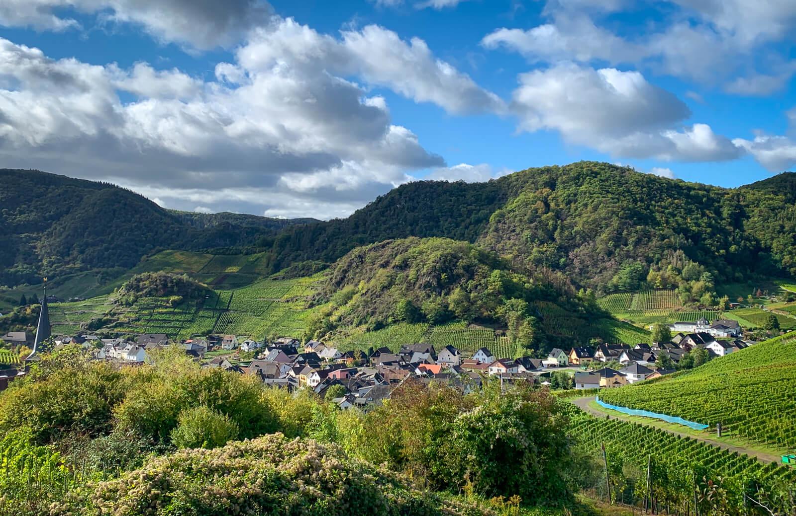 Looking over the village of Mayschoß (Mayschoss) in Western Ahr.