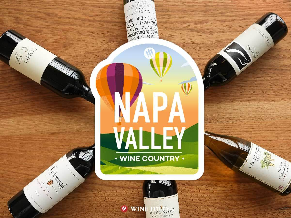 Six wines of Napa Valley with logo