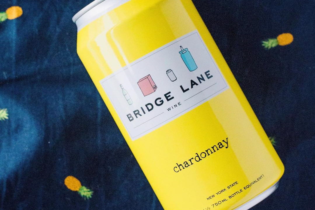 A can of Bridge Lane Chardonnay: a canned wine.