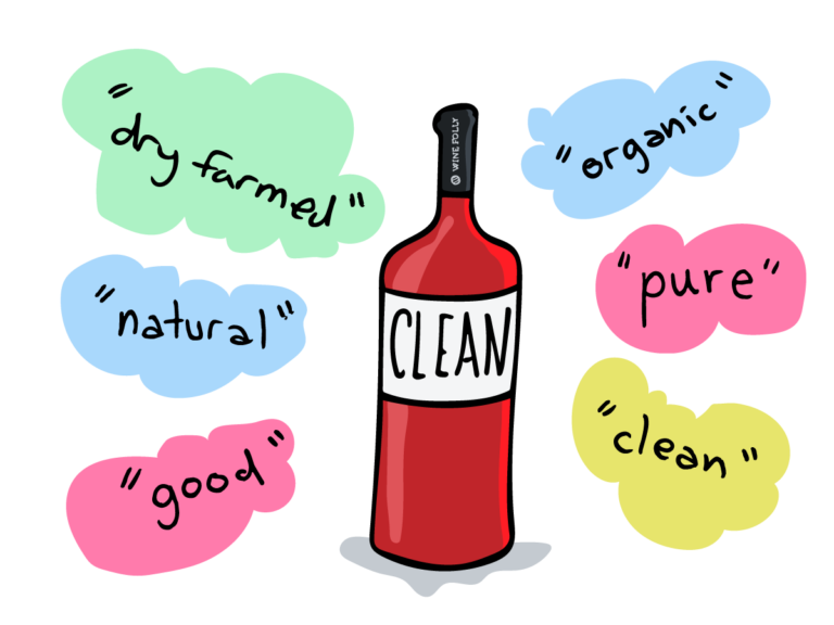 clean dry farmed organic natural pure good wine illustration wine folly