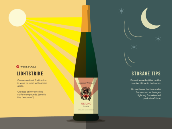 How sunlight and light strike affects wine