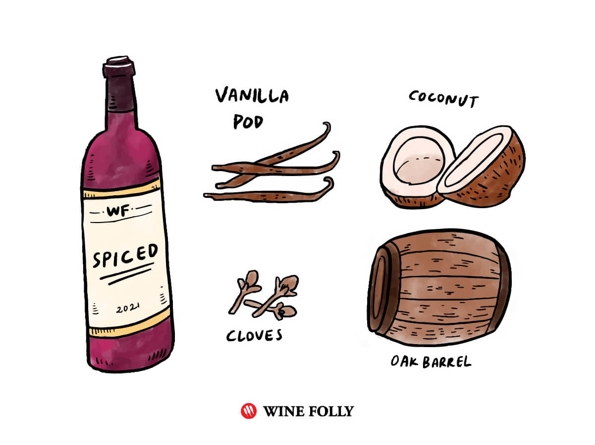 Spicy red wine with spices like cloves and vanilla