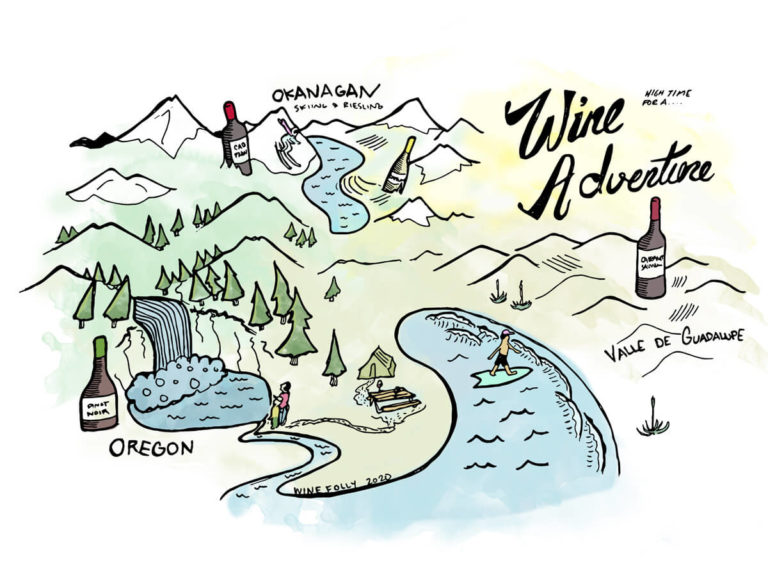 Wine Adventure Illustration - Great Outdoors Wine Folly